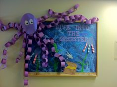 """We're diving into 4th grade!"" Start the school year off with an ocean theme. This will make a great bulletin board. Students can create their own fish, seastars, or jellyfish to add to it."