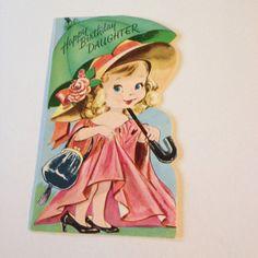 Vintage Greeting Card Birthday Cute Girl Umbrella Playing Dress Up | eBay