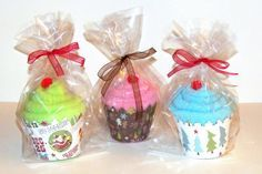 Sharon Langford Designs: Christmas Sock Cupcakes!       A scout troop made these and brought them to the residents in the nursing home where my mother lives. What a cute and practical service project!