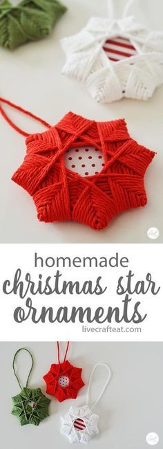 Homemade Christmas Tree Star Ornament With Yarn easy woven star christmas ornaments for kids! uses only a few inexpensive supplies but it is so impressive looking! The post Homemade Christmas Tree Star Ornament With Yarn appeared first on Holiday ideas. Christmas Tree Star, Christmas Crafts For Kids, Diy Christmas Ornaments, Yarn Crafts, Handmade Christmas, Holiday Crafts, Christmas Holidays, Homemade Christmas Tree Decorations, Paper Ornaments