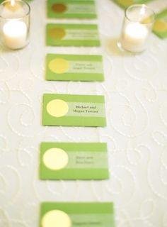 Washington DC Wedding Reception Green Escort Cards 1 275x374 Modern Meets Vintage Wedding Reception in Washington DC: Jessica + Ian