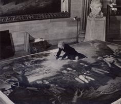 """vintagenational:  Photo by Willard R. Culver. From """"U. S. Capitol, Citadel of Democracy,"""" National Geographic, August, 1952.  An Artist Sitting on the Platform-supported Canvas Cleans a Rotunda Painting Marie Kalnoky freshens """"The Surrender of General Burgoyne,"""" one of four documentary pictures made by John Trumbull especially for the Capitol. Trumbull (1756-1843), who drew on his own Revolutionary experiences, had the additional advantage of painting his heroes in the flesh."""