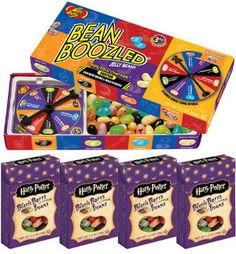 Jelly Belly Beanboozled Jelly Beans Party Pack, 1 Spinner Gift Box and 4 Harry Potter Refill Boxes - Whole And Natural