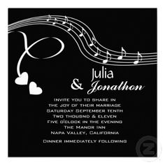Musical Notes Wedding Invitation