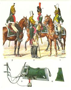 Line Dragoon Officer regimental distinctions, 24th (1), 17th (2), 2nd (3), 7th (4), horse furniture-senior officer parade (5), 1807-1811 (Plate 25a)