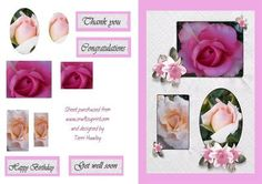 A pretty birthday, congratulations, thank you and get well soon card, that is very easy to make. 3 small easy to cut pyramids. Birthday Congratulations, Get Well Soon, Thank You Cards, Decoupage, Birthday Cards, Card Making, Greeting Cards, Roses, Basket
