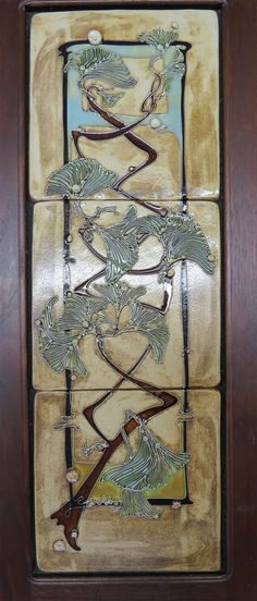 Tile - Carol Long Pottery / Ginko 3 piece framed tile $475.00 Tile grouping ready to be hung in a living space.  Dimensions 6x18.