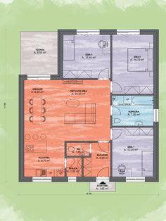 Bungalov Luna 22 Design Podorys - Bungalov LUNA 22 | Familyhouse 20 M2, Lime, Floor Plans, Lima, Key Lime, Floor Plan Drawing, House Floor Plans