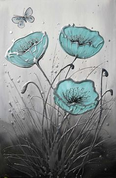 Feel free to contact me if you have any questions or would like to purchase a commission painting Original duck egg blue poppy painting on canvas with a butterfly. Textured with silver, grey-blac...