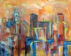 "Manhattan Towers IV by Sharon Sieben | $750 | 30""w x 24""h | Original Art | http://www.vangoart.co/buy/art/manhattan-towers-iv @VangoArt"