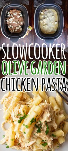 Slow Cooker Olive Garden Chicken Pasta. Chicken breasts cooked with Olive Garden Italian dressing (or your favorite dressing), parmesan cheese, cream cheese, salt and pepper cooked in the slow cooker. Once done mixed with pasta and more parmesan cheese for a creamy Italian chicken recipe that is perfect for dinner! Chicken Pasta Crockpot, Creamy Italian Chicken, Creamy Chicken Pasta, Italian Chicken Recipes, Chicken Pasta Recipes, Crockpot Dishes, Recipes With Pasta, Slow Cooker Chicken Easy, Chicken Recipes With Cream Cheese