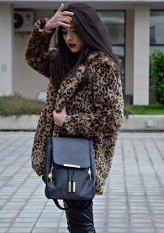 Multicolor Faux Fur Button Up Leopard Coat