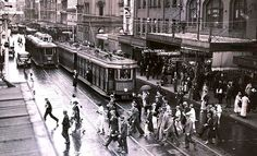 Trams were once a common sight in Sydney. Old Pictures, Old Photos, Wynyard Station, Sydney City, Long Time Friends, Historical Images, Sydney Australia, Aerial View, Melbourne
