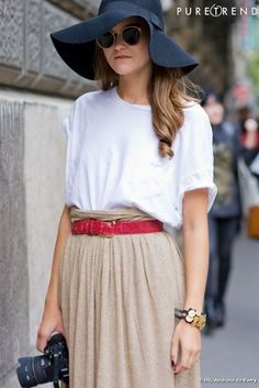 Belt and hat.  Love the colors, not the baggy tee.