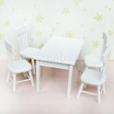 1:12 Modern Wooden Dining Room Table w/ 4 Chairs Dolls House Miniature Furniture
