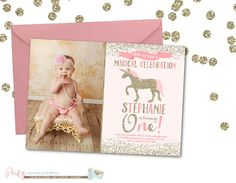 Pink And Gold Unicorn Birthday Invitation By PartyInvitesAndMore First Parties
