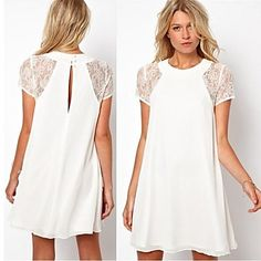 Women's+Lace+Short+Sleeve+Casual+Chiffon+Dresses+-+USD+$+51.50