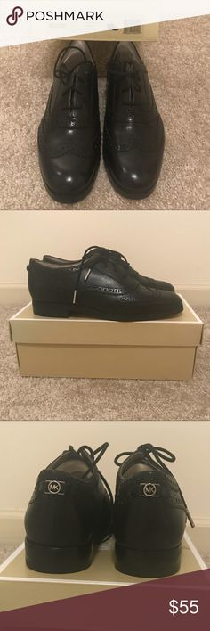 Brand New Michael Kors Black Womens Oxfords Brand New Michael Kors black women's oxford shoes.  Silver tone MK on back of shoe Immaculate condition  Size 7 💜Thanks for shopping my closet!💜 Michael Kors Shoes Moccasins