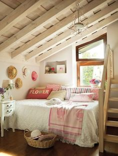 Stunning ideas for cottage or farmhouse attic bedrooms. Dagmar's Home, http://DagmarBleasdale.com