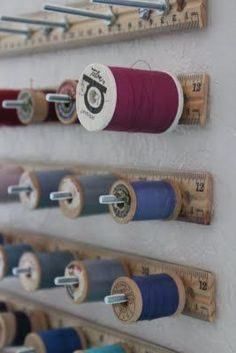 Ruler spool holders. Making this today to organize my sewing area:) Thread Storage, Bobbin Storage, Cord Storage, Sewing Spaces, Sewing Nook, My Sewing Room, Sewing Studio, Small Sewing Space, Sewing Room Decor