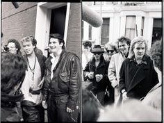 """Spandau Ballet and Duran Duran, November 25, 1984, arriving at SARM Studios in Notting Hill, London to record the 'Band Aid' single """"Do They Know it's Christmas"""", photographed by Paul Rider."""