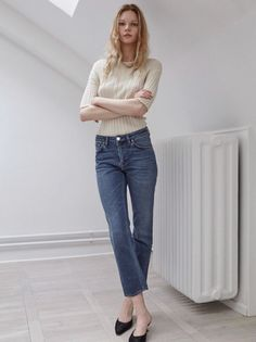 Jenny in Roma T-shirt and Straight Denim.  http://www.toteme-nyc.com