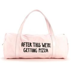 work it out gym bag after this we're getting pizza ($28) ❤ liked on Polyvore featuring bags, handbags, pink handbags, neon pink handbag, pink bag, neon pink purse and neon pink bag