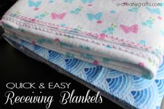 2 Minute Receiving Blankets with Video Tutorial at u-createcrafts.com