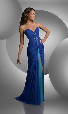Bari Jay Shimmer 59403 Prom Dress Strapless sweetheart bust shirred bodice  beaded center front center slit with chiffon underskirt Fabric Chiffon. 74de57793