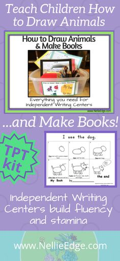 How to Draw Animals and Make Books Narrative Writing Kindergarten, Writing Center Preschool, First Grade Writing, Writing Workshop, Teaching Kindergarten, Writing Activities, Teaching Reading, Teaching Kids, Preschool Science