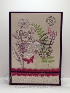 New Occasions Catalogue Butterfly Basics card using new Butterflies Thinlits Dies and Artisan Embellishment Kit - by Vanessa Webb Stampin' Up! Demonstrator Australia