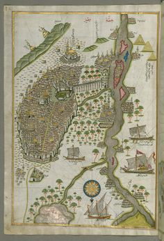 All sizes | Illuminated Manuscript Map of Cairo, from Book on Navigation, Walters Ms. W.658, fol. 305b | Flickr - Photo Sharing!