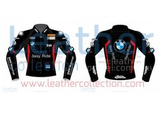Leon Haslam BMW Motorcycle Jacket Black This leather jacket is designed exactly in black from the Leon Haslam BMW suit when he took part in the Superbike championship with team BMW.