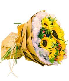 Sunflower with solidago and jequirity(or daisy) decorated bouquet to Shanghai, Beijing, Shenzhen, Hangzhou, Guangzhou