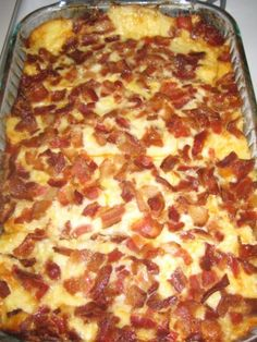 Bacon Brunch Egg Casserole   *Grease 9×13 dish with cooking spray *Layer cubed hearty white bread *8oz Sharp White Cheddar Cheese *8 oz Sliced Muenster Cheese *top w/ 1 pd small Fried Bacon pieces ***Beat 6 eggs, ½ tsp Salt & 3 cups Milk in small bowl. *Slowly Pour egg mix over   *Cover/let stand 12 hours in the fridge   *Bake covered w/ foil at 350F for 45 minutes. uncover & bake addtl 15 minutes. **Should be lightly brown and bubbly on top. Let set 5-10 minutes before cutting.