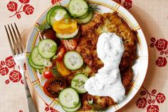 Crisp zucchini pancakes with an herby sour cream sauce and a salad of tomatoes and cucumbers take us from spring right into summer. Chef Bonnie Morales of Kachka in Portland, Ore., shares the recipe.