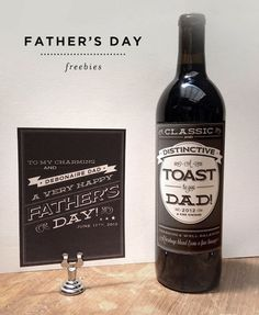 Free printable Father's Day labels and cards ~ You can jazz up a bottle of wine or a bottle of beer with these manly labels, and a slick card to match