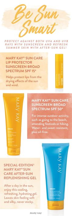 Smart beauties know how to protect against both UVA and UVB rays with sunscreen, and to refresh summer skin with after-sun gel.