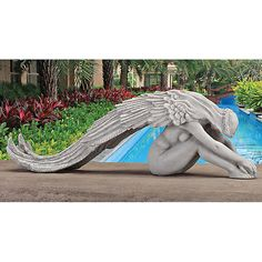 Angel #garden statue long #wings beautiful heavenly fairy #sculpture wedding beau,  View more on the LINK: 	http://www.zeppy.io/product/gb/2/252111934724/