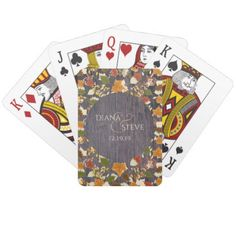 Rustic Wood Fall Leaves Monogrammed Wedding Favors Playing Cards - rustic gifts ideas customize personalize