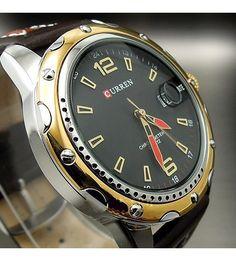 52e086f8f94 Relógio Curren Masculino Analógico Luxo Pulseira Couro (Dourado)