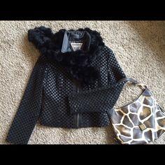 Black leather jacket Gorgeous, Marvin Richards, black leather jacket. Beautiful detailing. Zipper works perfect. Sits just below hips. Jackets & Coats Utility Jackets