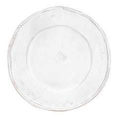 Tuscan artisans use 13th century techniques with antique ornament rolls to create the intricate designs on the front and back of each Bellezza White Dinner Plate.