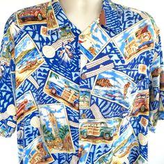 Reyn Spooner Hawaiian Aloha Mens Shirt Sz L Vtg Tiki Woody Large Joe Kealuha #ReynSpooner #Hawaiian