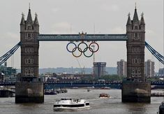 Olympic Rings sit over Tower Bridge over the Thames in London.They will remain here during the London 2012 games. Olympics begin July 27th. Go USA !!