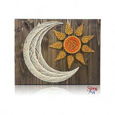 Sun and Moon String Art Kit - String of the Art Mason Jar Crafts, Mason Jar Diy, Bottle Crafts, Fun Diy Crafts, Arts And Crafts Projects, Hilograma Ideas, Decor Ideas, String Art Diy, String Crafts