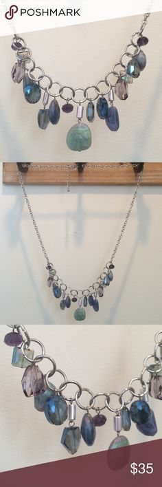 😍 Long Necklace By Chico's New! Silver Long necklace with beautiful multi colored, iridescent beads.  Greens, purples and blues.  Beautiful. No flaws Chico's Jewelry Necklaces