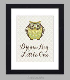 Owl Art Print Dream Big Little One Poster Kids Room Nursery Wall Art 8x10 Boy Nursery Boys Room Wall Decor Premium Print. $18.00 digibudda @Etsy