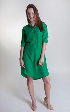 Stylish and casual green women's shirt dress Women's Green Shirt, Dress Shirts For Women, Handmade Design, Spring Summer, Shirt Dress, Sport, Elegant, Stylish, Casual