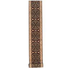 Herat Oriental Indo Hand-knotted Kashan Black/ Ivory Runner